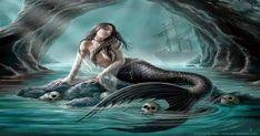 Art by Anne Stokes (Ironshod) Mermaid Myth Mythical Mystical Legend Mermaids Siren Fantasy Ocean Sea Enchantment Sirens Meerjungfrau sirène sirena Русалка pannu havfrue zeemeermin merenneito syrenka sereia sjöjungfrun sellő Anne Stokes, Dark Mermaid, Siren Mermaid, Mermaid Art, Sea Siren, Mermaid Lagoon, Mermaid Sketch, Anime Mermaid, Dark Fantasy