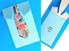 Father's Day Tie Card printable.  Print out the card then attach colorful paper for the tie.  Easy kids craft for Father's Day. #fathersday ...