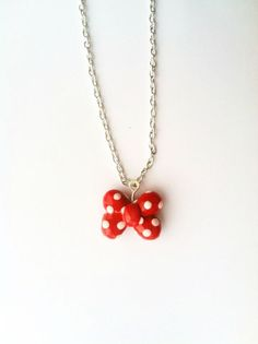 Minnie Mouse Bow Red and White Polka Dot Polymer Clay Necklace