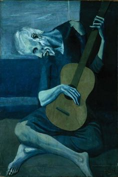 The Old Guitarist-Pablo Picasso-Blue Period-Spanish-Depicts an old, blind, haggard man with threadbare clothing weakly hunched over his guitar. Picasso used very somber colors during this period. Kunst Picasso, Art Picasso, Picasso Blue, Picasso Paintings, Picasso Images, Art Paintings, Giacometti, Kunst Poster, Georges Braque