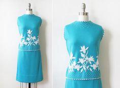 60s beaded wool dress set / vintage aqua blue by RustBeltThreads