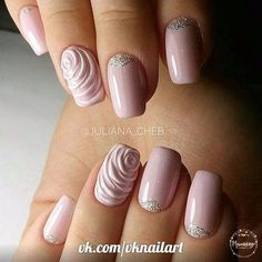 In search for the perfect wedding nails for bride? Take a look through our collection of 30 gorgeous wedding nail ideas and find some inspiration! 3d Nails, Nail Manicure, Pink Nails, Fancy Nails, Cute Nails, Pretty Nails, Bride Nails, Wedding Nails, Beautiful Nail Art