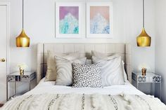 Exclusive: Tour Claire Thomas' Mod House on Stilts via @domainehome // Tappan Collective prints, Moroccan blanket, Room & Board pendant lights.