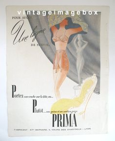 PRIMA corset girdle underwear advert vintage by VintageImageBox, £4.95