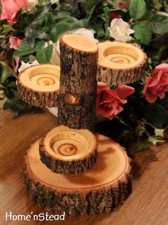 Tiered Log Votive Candle Holder Stand Rustic Wedding by HomenStead, $25.00