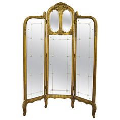 THREE PANEL FLOOR STANDING MIRROR FRENCH BOUDOIR DRESSING SCREEN ...