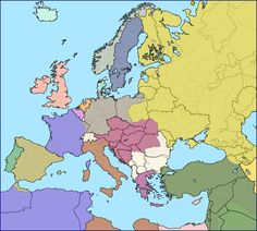Modern European borders superimposed over Europe in 1914 immediately before World War 1.