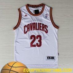 b4dfc6a86 Adidas Camiseta nba baratas Cleveland Cavaliers James  23 blanco nueva pano