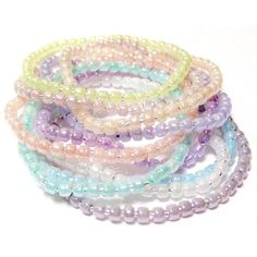 Pastel Seed Bead Stretchy Bracelets Set Of 10 Size XL 8 Inches ($9.99) ❤ liked on Polyvore