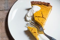 This dairy-free pumpkin pie has a wholesome base made of cashews, oats and dates and is just a little bit naughty with crystallised ginger. Silken tofu has a very smooth texture and a milky, nutty taste that pairs happily with pumpkin and coconut cream for the filling. Choose a good dry pumpkin otherwise the filling will be too wet — buttercup is ideal. This pie will keep in the fridge for at least a week. It's good to make it the day before you want to serve it so the bas...