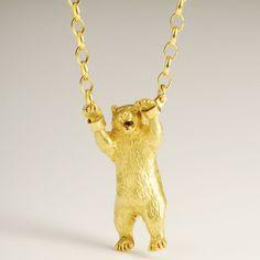 Hand Cuffed Bear Necklace