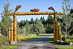 1095 RMLH- custom entry gate Farm Entrance, Driveway Entrance, Driveway Gates For Sale, Farm Gate, Log Fence, Waterfall Features, Ranch Decor, Rustic Gardens, Entrance Gates