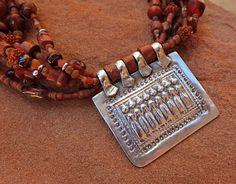 Vintage India Sapta Matrikas Coin Silver Pendant on Multi Strand Red Bead Necklace by Desert Talismans