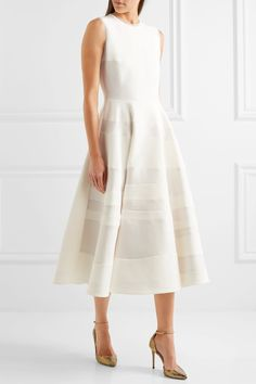 Roksanda | Tatum paneled cady and hammered-crepe midi dress | NET-A-PORTER.COM