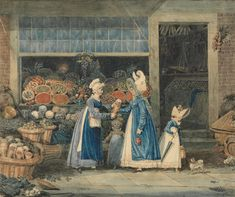 James Pollard, 1792–1867, British, The Greengrocer, ca. 1819, Watercolor, pen and black ink, pen and brown ink, and graphite on medium, slightly textured, cream wove paper, Yale Center for British Art, Paul Mellon Collection