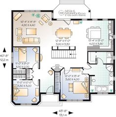 House Plan 65595 - Bungalow , European , House Plan with 1578 Sq Ft, 3 Bed, 1 Bath Bungalow Floor Plans, House Floor Plans, European House Plans, Small House Plans, The Plan, How To Plan, Rustic Lake Houses, Drummond House Plans, Sims House