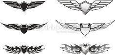 Vector Art : Winged Awards Set