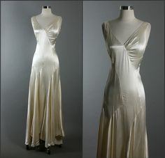 1930's Nightgowns from movies | Vintage 30s Plunging Neckline Silk Bias Cut Cocktail Party Wedding ...