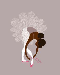 ballerina tying slippers giclée print. 8X10. gray/lavender/magenta. african american.. via Etsy.