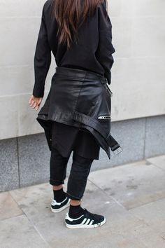 AllSaints leather jacket   COS shirt dress   vintage jeans   Weekday sheer socks   Adidas Campus