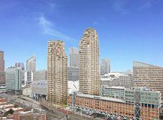 Een artist impressie van de twee nieuwe woontorens op de Grotiusplaats nabij het Centraal Station