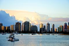Sunrise from the Gold Coast Broadwater over Surfers Paradise, Queenland, Australia.