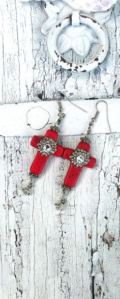 Cross Red Turquoise Earrings ReD Stone by SecretStashBoutique