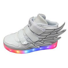 Kid boy girl LED light up sneaker athletic wings shoe High Student dance Boot USB Charge