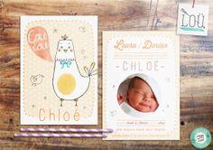 faire-part, naissance, birth, pink, peach, rose, pêche, bébé, baby, poule, hen, illustration, studio-lou.fr/