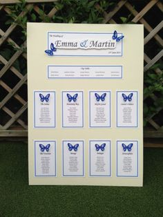 A1 or A2 DIY Personalised Butterfly Wedding Table plan - Seating plan | eBay