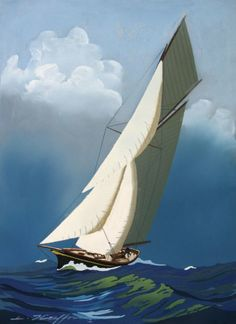 Léon HAFFNER « Yacht vu par l'avant » Gouache au pochoir, signée en bas
