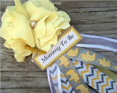 Elephant Mommy To Be Chevron Yellow and Gray Corsage Baby Shower Corsage Mom Badge Elephant Theme Corsage Fabric Flower on Etsy, $12.00