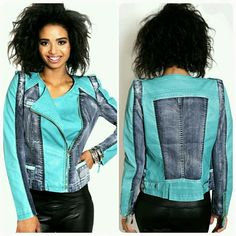 Turquoise Faux Leather Denim Motor Jacket, MEDIUM - Premium quality   - Fabric content - Shell 1 - 100 % polyester, Shell 2 - 72 % cotton, 26% polyester, 2% spandex, Lining 100 % polyester   - Website : www.ForYourBigDate.com   - Instagram @foryourbigdate  - Free surprise gift included Jackets & Coats Jean Jackets