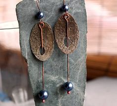 Handmade Earrings, Merlin Silver, Flamed, Burnished, Glass Pearls, Celtic