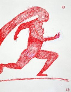 Louise Bourgeois  NAKED JOGGING, 1996  Red ink on paper  11 5/8 x 9 inches  29.5 x 22.9 centimeters