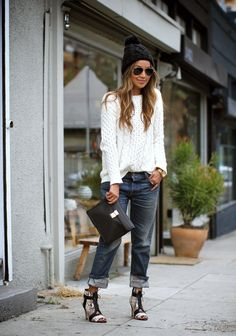 Jeans: NSF (on sale!)  Sweater: Madewell  Heels: Cynthia Vincent  Clutch: 3.1 Phillip Lim  Beanie: Zara