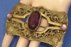Big Art Nouveau Art Deco Purple Stone Sash Brooch | eBay