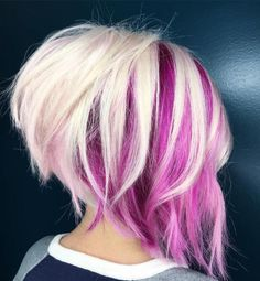 Blonde And Magenta Choppy Angled Bob