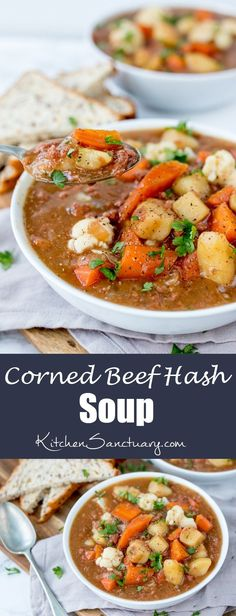 This rich and meaty corned beef hash soup is filling enough for dinner. Ready in 30 mins too! This rich and meaty corned beef hash soup is filling enough for dinner. Ready in 30 mins too! Beef Soup Recipes, Corned Beef Recipes, Cooking Recipes, Healthy Recipes, Top Recipes, Easy Recipes, Leftover Corned Beef Recipe, Corned Beef Stew, Left Over Corned Beef