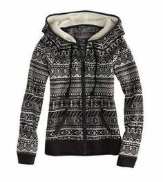Warm black & white hoodie.