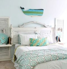 Beachy Aqua Whale above Headboard: http://beachblissliving.com/above-bed-decor-shelf-ideas-art-more/