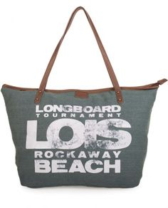 #Bolso de #playa tipo capazo con dos asas en color kaki de la firma vaquera #Lois.
