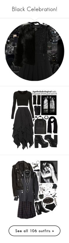 """Black Celebration!"" by curekitty ❤ liked on Polyvore featuring Versace, beautyblender, Bulbrite, CB2, Fujifilm, CO, Forever 21, Hot Topic, Mineral and Incase"