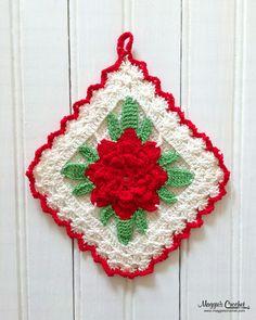 The rose really pops on this vintage crochet potholder