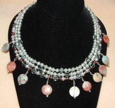 It's a Mermaid's Dream - Handmade 3-strand,  Swarovski Pearl, african opal and aqua marine necklace - very unique and handmade for just one person $137.00