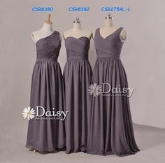 Even this is really cute in black....Hey, I found this really awesome Etsy listing at https://www.etsy.com/listing/174925569/long-gray-chiffon-bridesmaid-dresslong