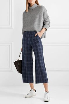 Veronica Beard | Madds cropped checked wool-blend wide-leg pants | NET-A-PORTER.COM