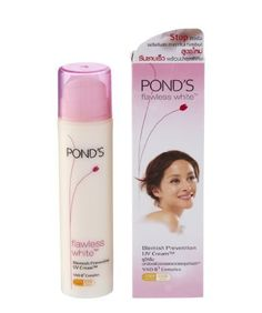 Pond's Flawless White Blemish Prevention Uv Cream 50 gm. by POND'S. $14.27. VAO-B3 complex and Glucoside-C to work hard on dark spots. 50 gm. Lightweight, non-sticky, hydrating formula. UVA/UVB SPF 15 PA ++. Exposure to sunlight, pollution and other skin irritants can cause the appearance of stubborn dark spots on your face, and they just don't seem to go away! Pond's Flawless White  Blemish Prevention UV Cream  works harder on darker, stubborn spots and helps prevent ...