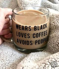 Cute Cars Accessories Discover Wears Black Loves Coffee Avoids People Mug! Coffee Is Life, I Love Coffee, House Coffee, Coffee Lovers, Coffee Cups, Tea Cups, Coffee Coffee, Coffee Enema, Coffee Beans
