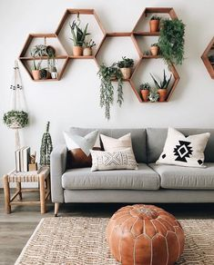Throw back to my first diy shelves that turned iconic Kaekoo Shop🙌🏻 Shocker.I never planned on selling Honeycomb Shelves, it was always… Room Design, Mid Century Living Room, Rooms Home Decor, Apartment Decor, Room Decor, Interior Design Living Room, House Plants Decor, Living Decor, Living Room Designs